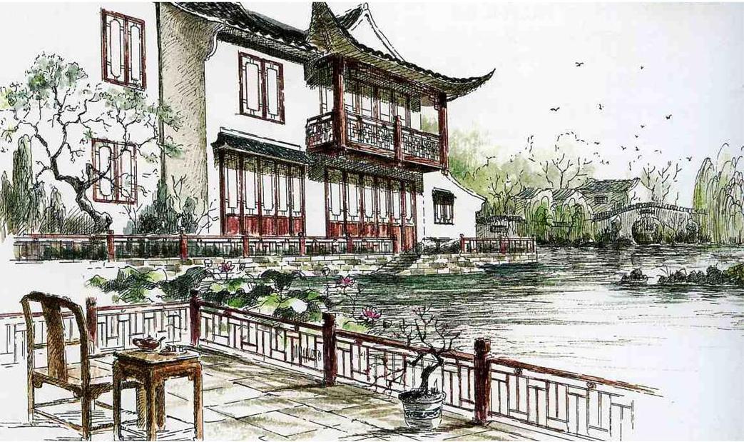 北京园林博览会古建项目手绘